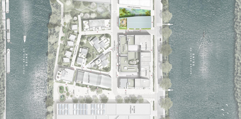 2016_Ile-Saint-Denis_93_Logements-Ateliers-Bureaux_Plan masse — Hubert & Roy Architectes